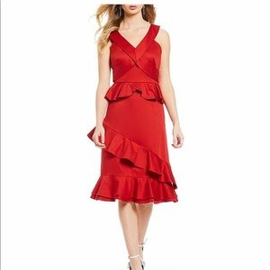 Gianni bini red ruffle dress